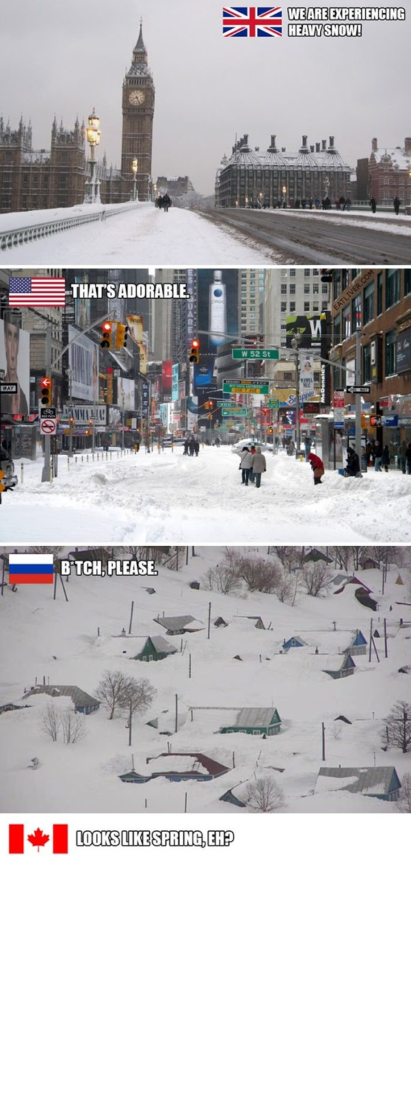 Funny Snow in different countries - UK, America, Canada