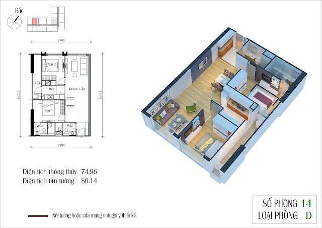 Căn hộ 75 m2 tòa Eco Summer