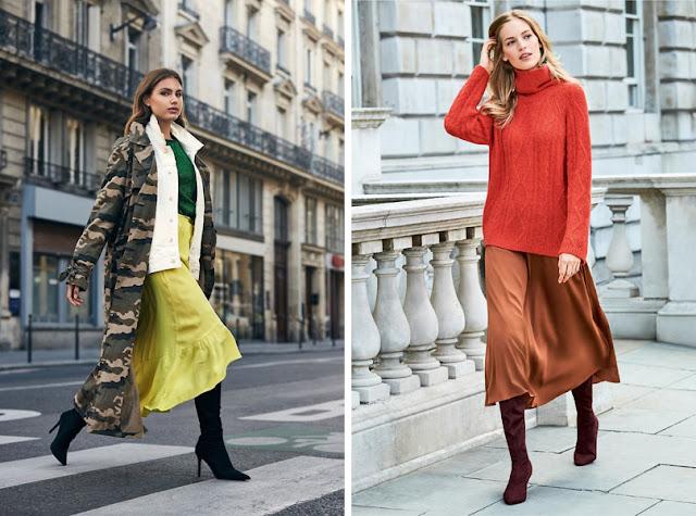Сапоги-чулки с юбкой миди и длинным пальто