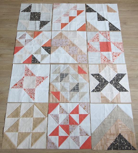 HST Quilt-Along - twelve first blocks - Carolyn Friedlander fabrics