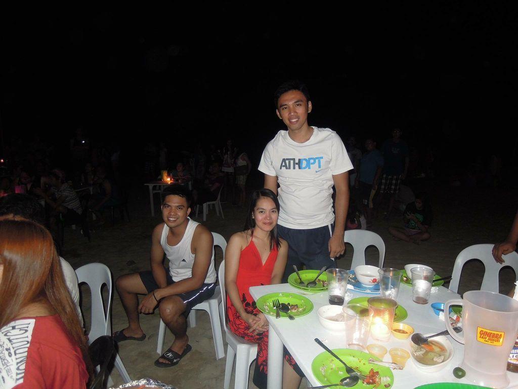 Eating dinner at Puerto Galera