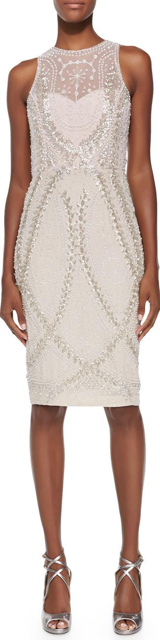 Rachel Gilbert Avalon Sleeveless Embellished-Tulle Dress
