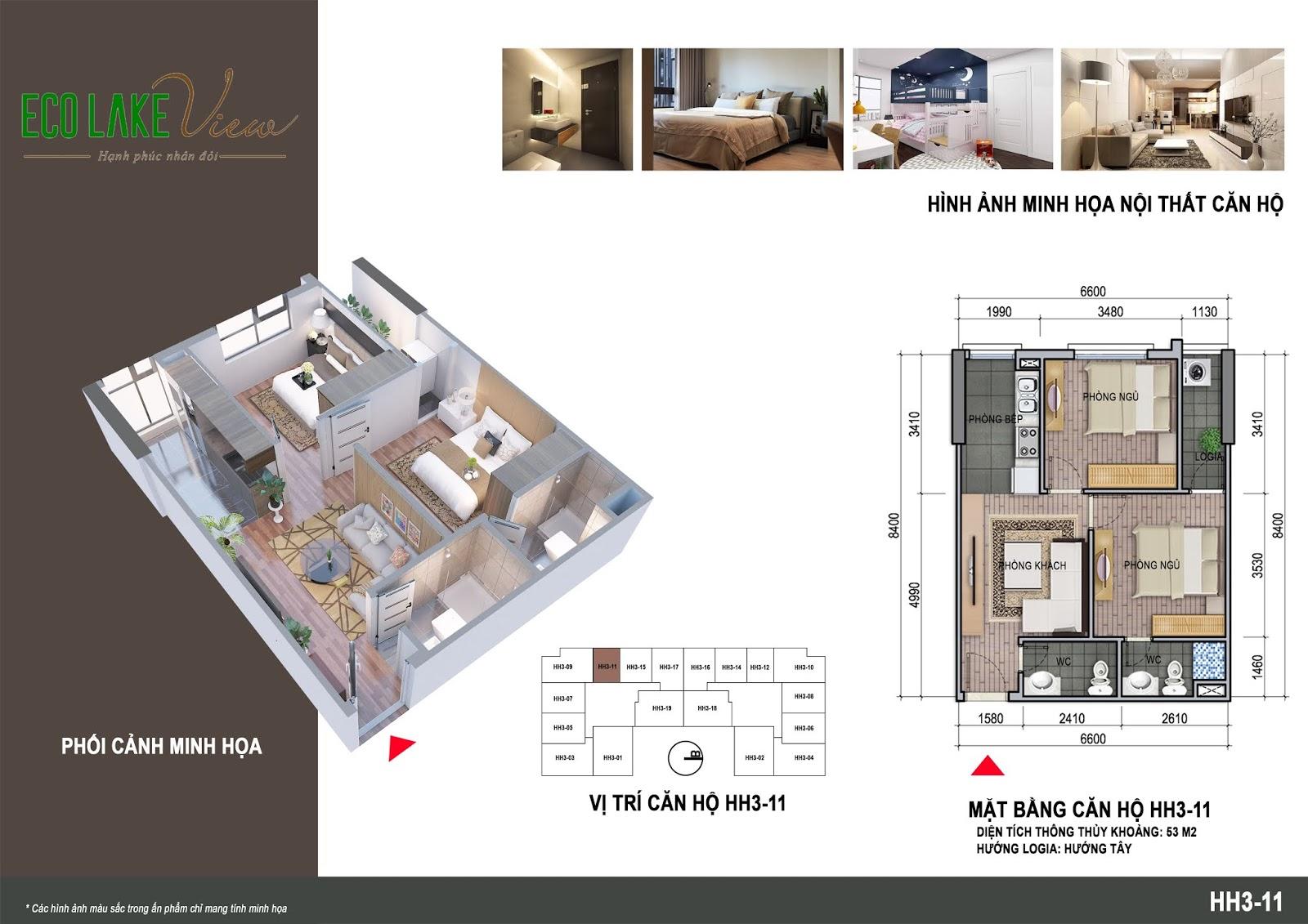 Thiết kế căn hộ 06 tòa HH03 Eco Lake View