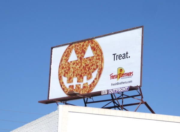Halloween Fresh Brothers pizza billboard