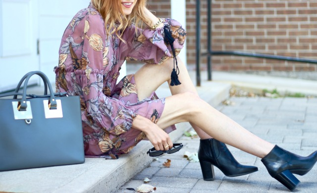 "Fall floral fashion- Zaful Ruffled Collar Floral Print Dress, Sophie Hulme ""Albion"" East/West, Tote in Charcoal Grey, Zara High Heel Booties, Celine Caty Sunglasses"