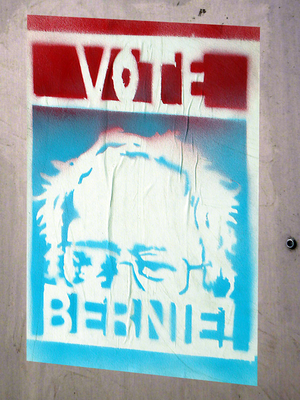 Homemade Bernie Sanders sign in Pasadena California