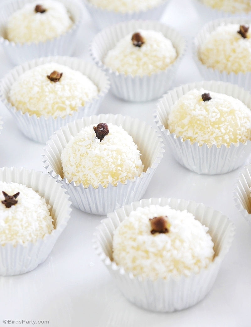 Brazilian Coconut Beijinho Truffle Recipe - BirdsParty.com