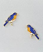 Bluebird Earrings Post Gold Enamel