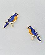 Bluebird Earrings Post Gold Enamel