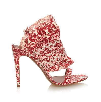 Tabitha Simmons Flouncy Floral Print Linen Sandals
