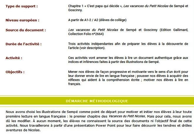 Tics En Fle Le Petit Nicolas Ressources Lecture