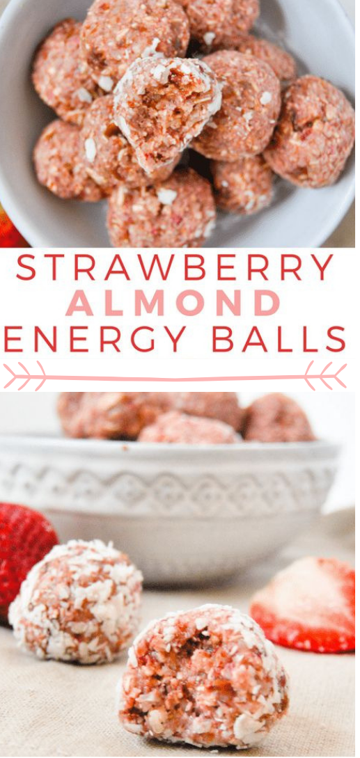 NO BAKE STRAWBERRY ALMOND ENERGY BALLS #strawberry