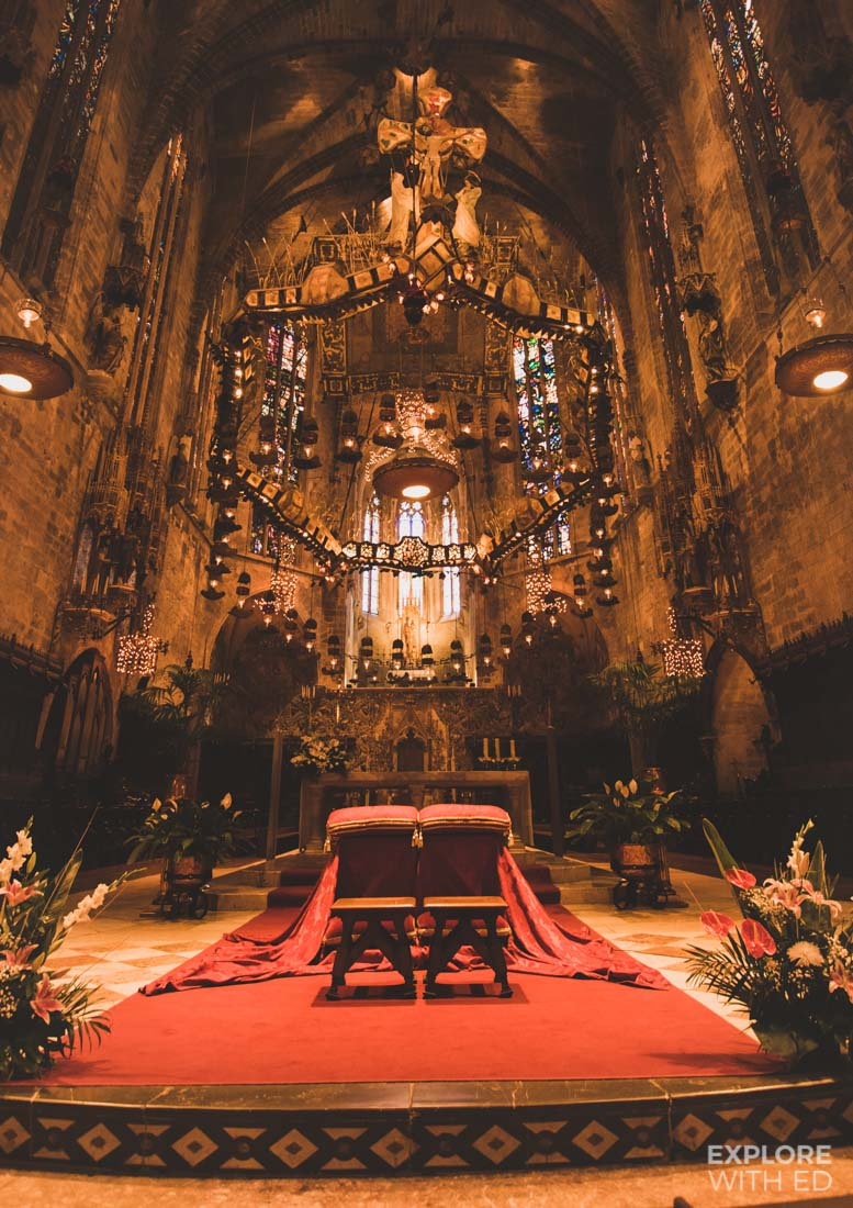 The grand alter in Mallorca's Cathedral filled with lights