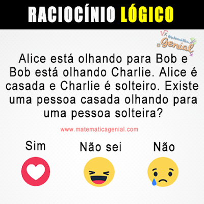 Alice está olhando para Bob e Bob está olhando Charlie. Alice é casa e Charlie é solteiro...