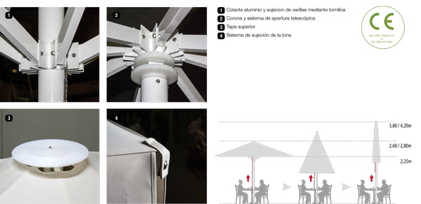 accesorios parasoles aluminio serie elite telescópico