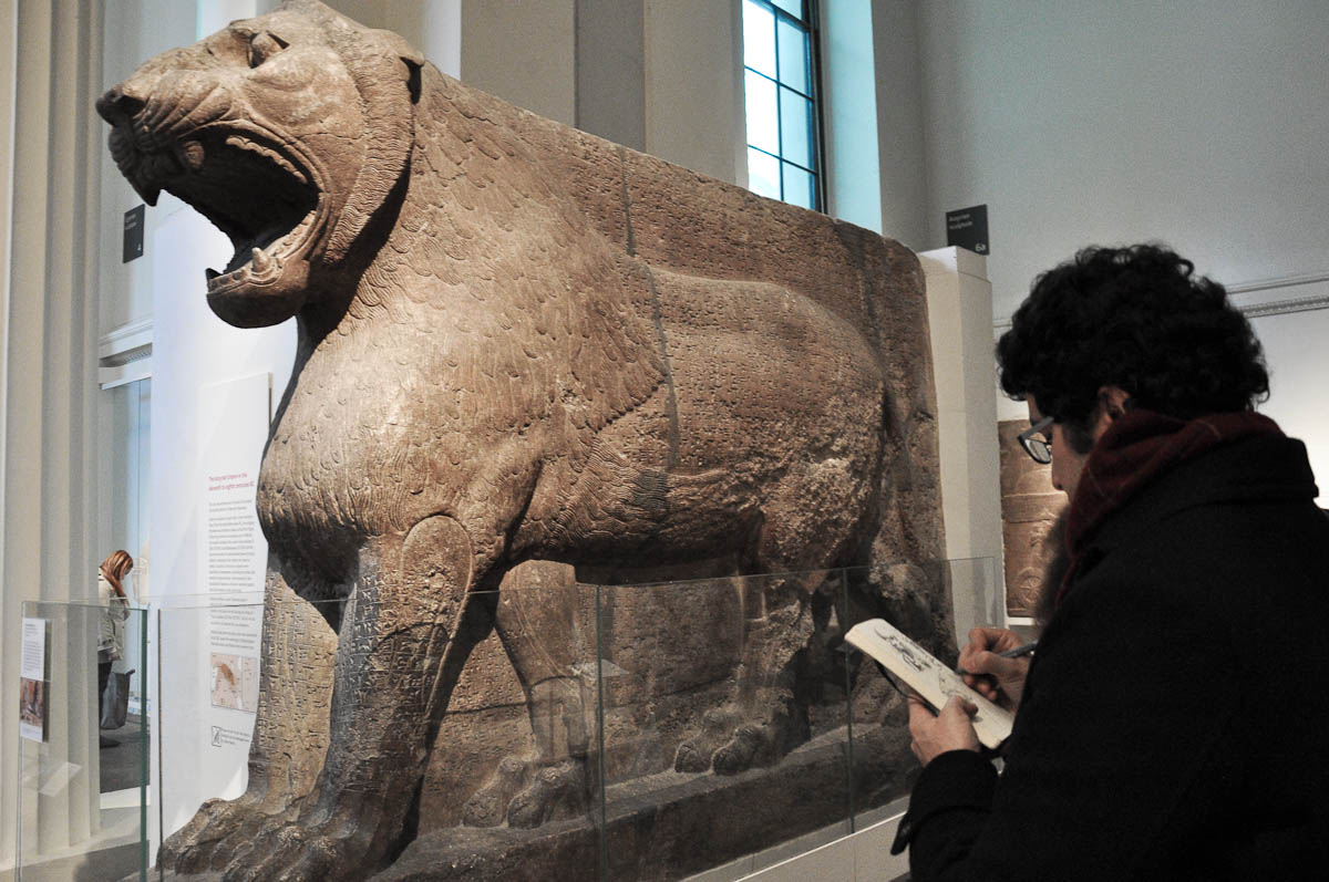 Sketching in action, The British Museum, London, UK