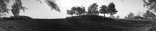 Panorama cmentarzyska kurhanowego z epoki brązu w Łękach Małych
