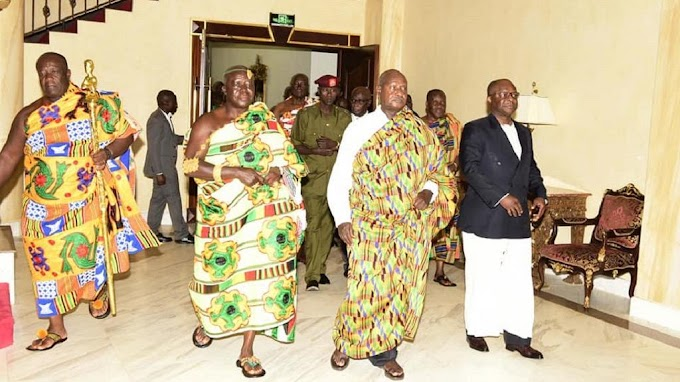 Photos: Uganda's Museveni goes traditional as he hosts Asantehene Otumfuo Nana Osei Tutu II