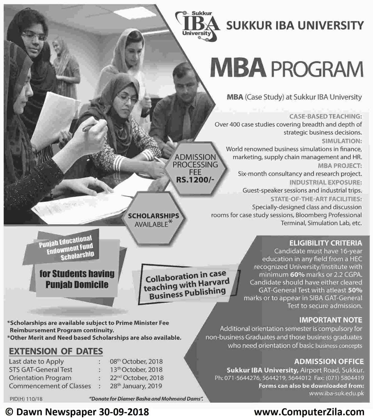Admissions Open For Spring 2019 At SUKIBA Sukkur Campus