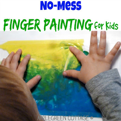 mess-free ziplock finger painting for kids