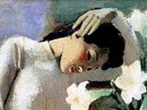 """Bức sơn dầu đã trở nên nổi tiếng như """"Thiếu nữ bên hoa huệ"""" của danh họa Tô Ngọc Vân. (Nguồn: Internet)"""