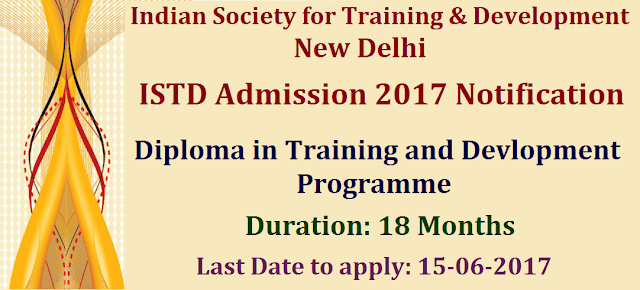 Admission, ISTD Admissions, Diploma Admissions, Indian Society for Training & Development, Diploma in Training and Devlopment Programme, www.istd.co.in