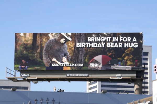 Smokey Bear birthday hug billboard