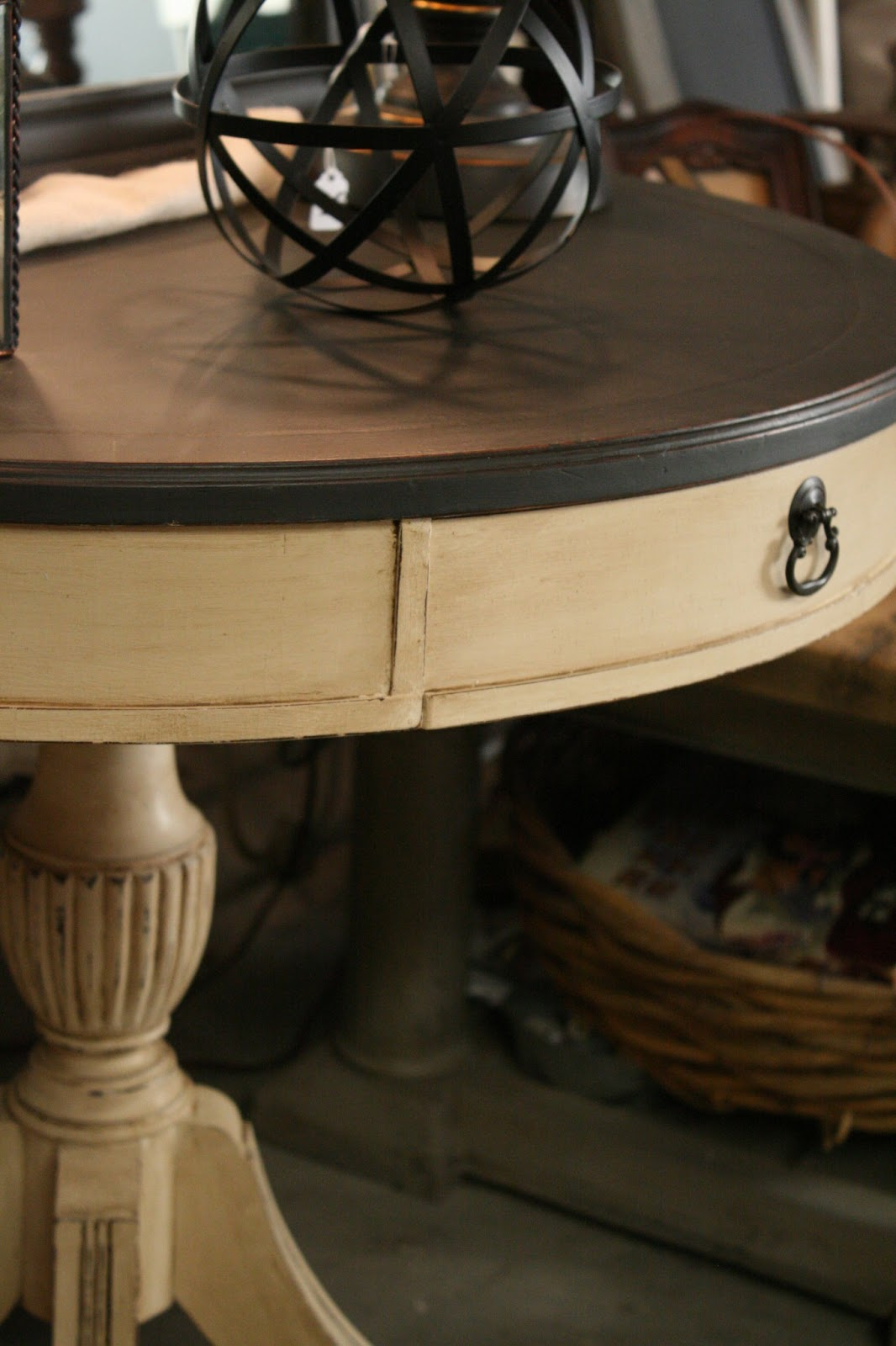 I Painted The Top Of Table With Graphite Chalk Paint And Base Old Ochre Used Annie Sloan Clear Dark Wax Over