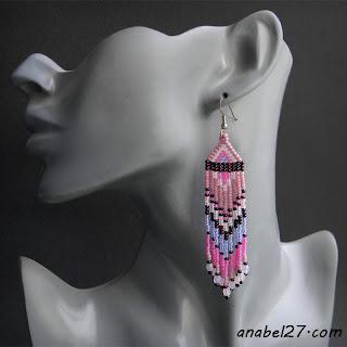 Длинные серьги из бисера - розовый / сиреневый - 206 / 365