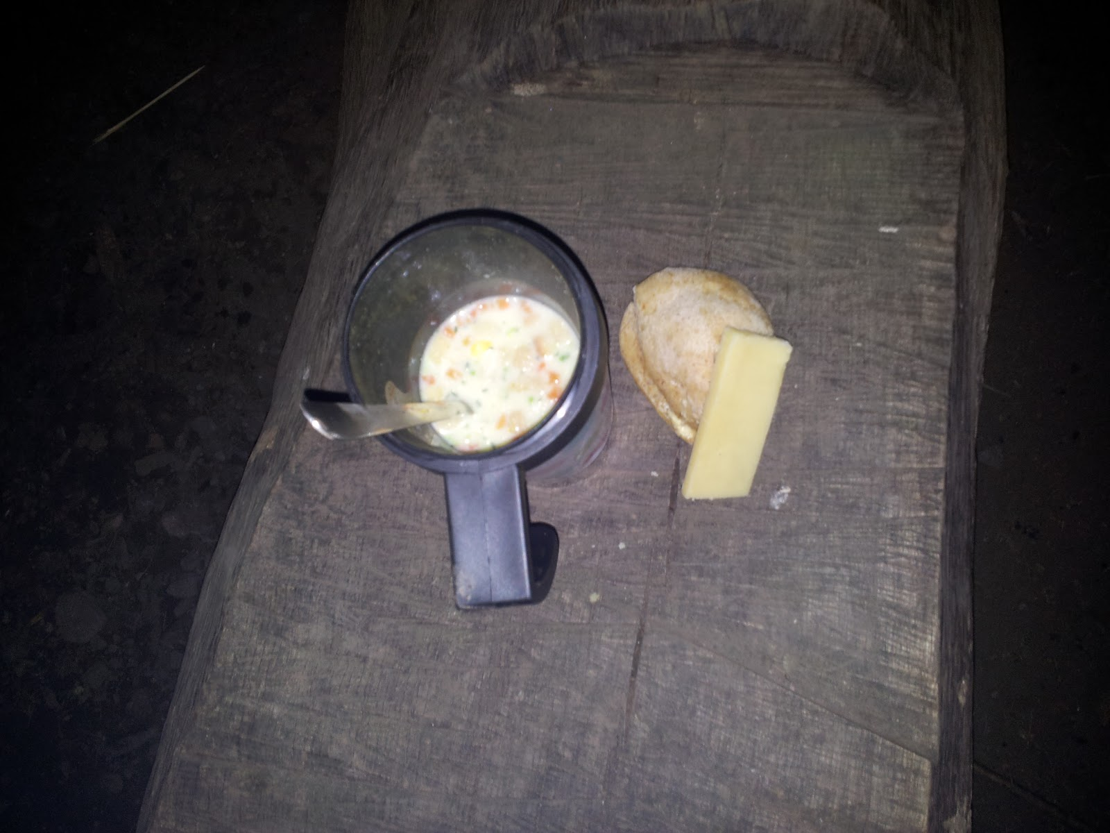New Years Woods  Fire Soup bread Cheese