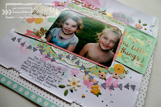 """Cousins"" layout by Bernii Miller using the Pebbles Spring Fling collection for Scrapping Clearly."