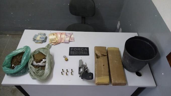 Polícia prende suspeito de porte ilegal de arma e tráfico de drogas em Campina Grande