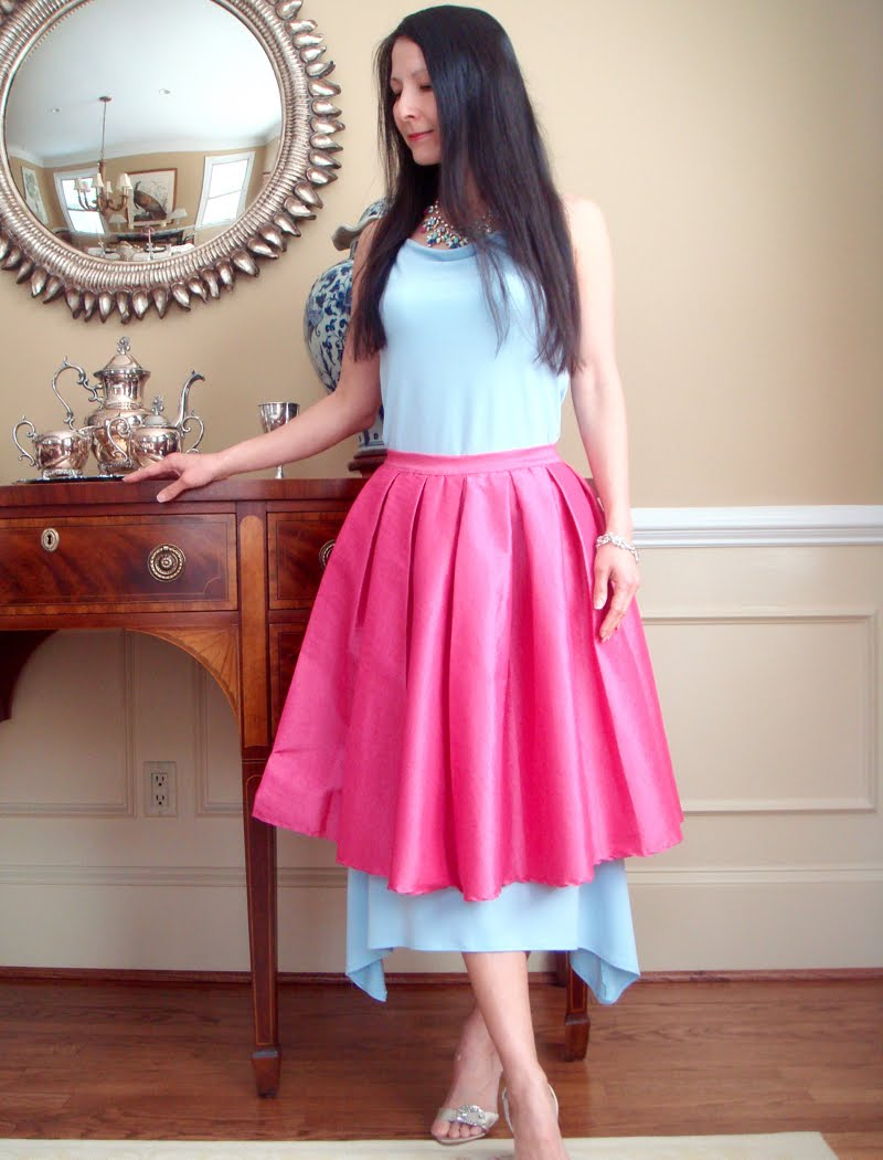 How to Wear a Skirt Over a Skirt outfit - leaning on buffet.