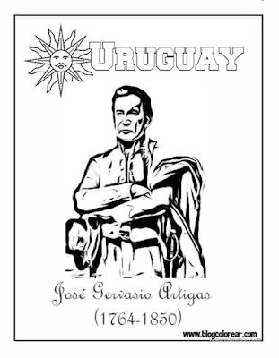 Dibujo para colorear de J. Gervasio Artigas