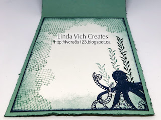 Linda Vich Creates: Sea of Textures Double Easel. The octopus from the Sea of Textures Bundle delights in this Double Easel card made using the Tranquil Textures DSP.