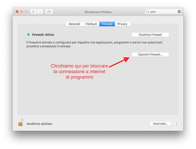 opzioni firewall su mac