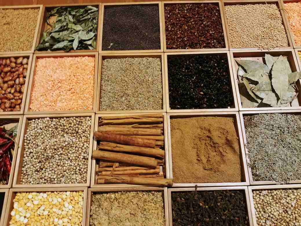 Board containing different spices at The Grand Kitchen