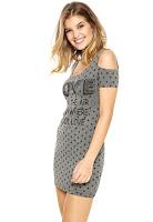 Moda Vestido Fitwell Curto Love Cinza