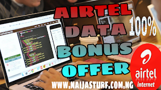 Airtel 100% data bonus offer