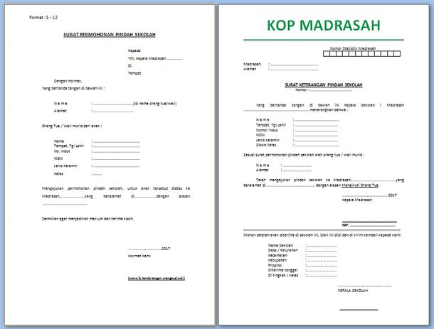 Contoh Surat Pindah Sekolah/Madrasah