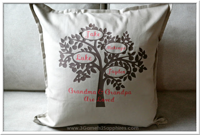 Personalized family tree pillow cover from Amazon Handmade . . . a cherished gift for a parent or grandparent.