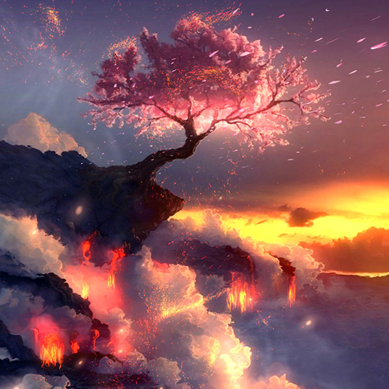 Burning Sakura v2 Wallpaper Engine