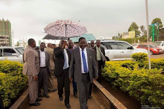 Raila Odinga at the JKIA today morning. PHOTO | Courtesy