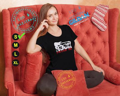 Baju Kaos DISTRO Desain Rock Never Die Warna Hitam Model Cewek