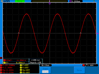 Forma de onda do sinal gerado pelo cristal em X1, medido aos terminais de C3.