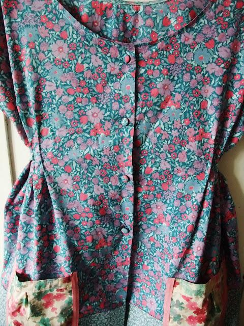button detail of Dottie Angel frock in vintage Laura Ashley textiles by Karen Vallerius
