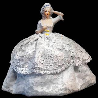 Antique Vintage Porcelain Half Doll Pincushion