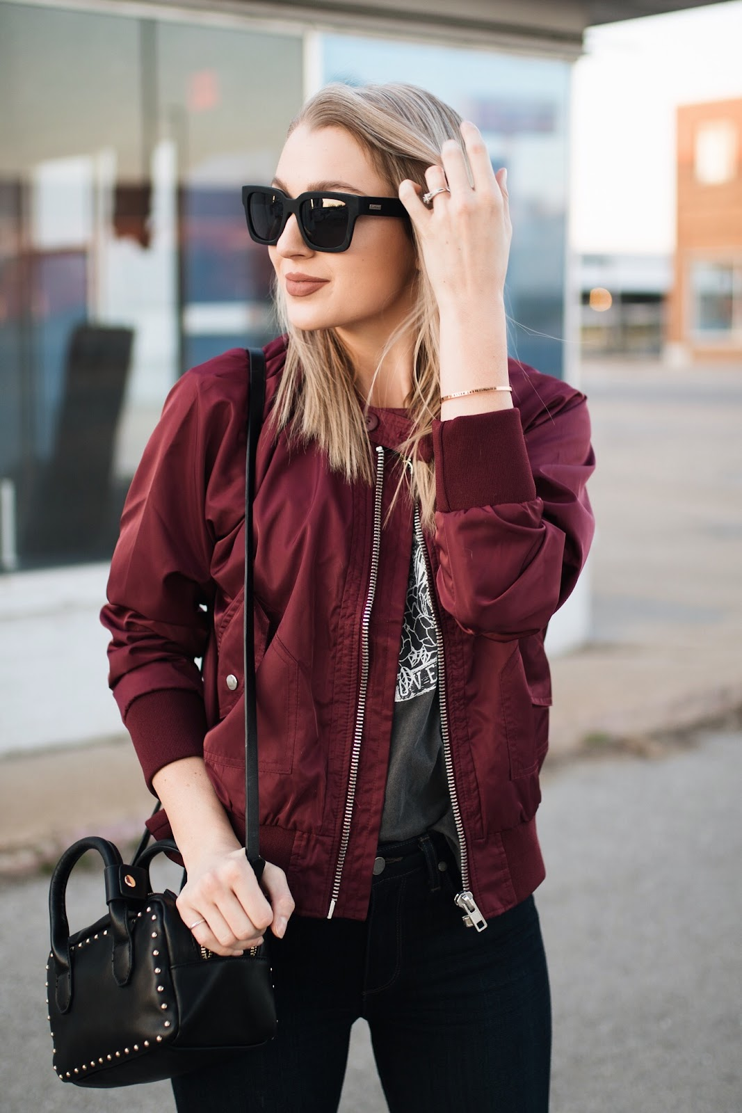 Free People burgundy bomber jacket