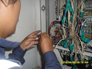 Check cable interface PA in the inside PABX terminal