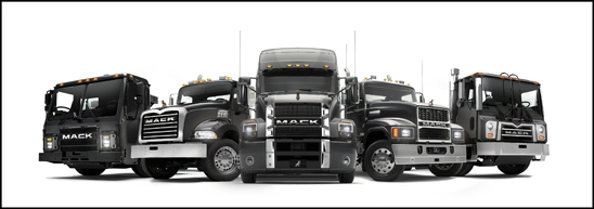 Lineup of Mack Trucks